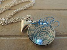 Cobalt Aqua Menhdi glass pendant