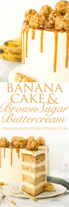 Banana Cake With Brown Sugar Swiss Meringue Buttercream!! Moist, delicious banana cake combined with my favorite, brown sugar swiss meringue buttercream. The best banana cake recipe and buttercream recipe you'll ever need. | thesugarcoatedcottage.com