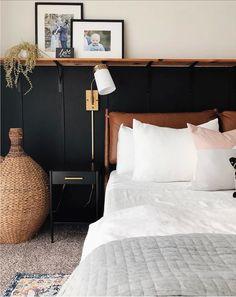 """A Plain """"Spec"""" House Has a Cute, Rustic Headboard Idea Home Bedroom, Bedroom Wall, Master Bedroom, Bedroom Decor, Bedroom Modern, Minimalist Bedroom, Bedrooms, Leather Headboard, Black Headboard"""