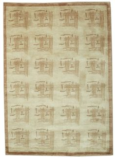Handmade and knotted rectangular Tibetan area rug with geometric designs in beige with brown accents, 4x6. Made with wool. Free Shipping within the US.