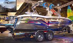 How cool is this boat wrap?!? Wrapped by Sirlin Wraps. www.sirlinwraps.com  Materials used: Avery Conform Chrome Wakeboard Boats, Boat Wraps, Wakeboarding, Water Sports, Vehicle, Chrome, Ships, Awesome, Ideas