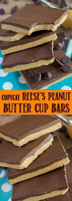 If you like peanut butter cups, you are going to LOVE these Copycat Reese's Peanut Butter Cup Bars! They are no bake, 5 ingredients, and take 10 minutes to make! Peanut Butter Desserts, Reeses Peanut Butter, Reeses Peanutbutter Cups, Peanut Recipes, Candy Recipes, Sweet Recipes, Dessert Recipes, Fudge Recipes, Dessert Oreo