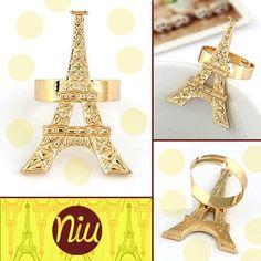 Anillo de Torre eiffel, lo más lindo de paris en tus dedos,  encuentra esto y mucho más en: www.niuenlinea.co Projects To Try, Tour Eiffel, Fingers, Cute, Accessories
