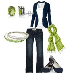 White and navy, green accessories!