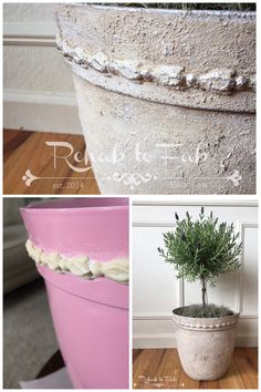 I added a appliqués to a plastic pot & used @heirloompaint Venetian Texture Medium to give it new life. Rehab to Fab