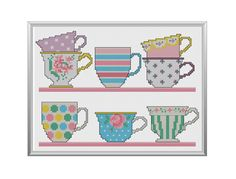 Pretty Teacups Cross Stitch Pattern Instant by tinymodernist, $6.00