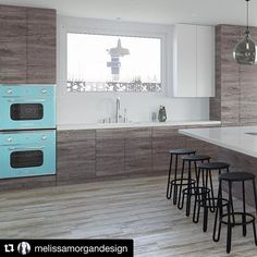 Wow! Look at those double wall ovens 😍via @@melissamorgandesign ・・・ Rendering for a new home coming 2018 in Seal Beach.. Teal double ovens!!! 💙💙💙 • • • #kitchen #livingroom #openfloorplan #whiteoak #custom #organized #dreamhouse #tealappliances #luxury #coastalchic #interiordesign #interior #instagood #instadesign #artist #dreambig #interior123  #custom #sealbeach #interiordesign #grayandwhite #contemporary #beachhouse #ocinteriordesigner #melissamorgandesign.