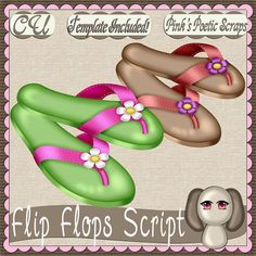 Flip Flops (FS-CU-TEMPLATE-PSP SCRIPT) [Pink] : Scrap and Tubes Store, Digital Scrapbooking Supplies
