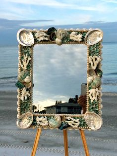 Beach Decor Shell Mirror with Turquoise by PinkPelicanDesigns