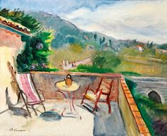 """Charles Camoin (France Terrasse en Provence oil on canvas 54 x 65 cm "" Provence, Galerie D'art, France, Henri Matisse, French Artists, Art Plastique, Cool Artwork, Pastels, Beautiful Pictures"