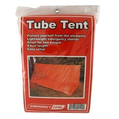 Tube Tent Emergency Shelter, Weather Protection, Emergency Zone? Brand by Emergency Zone. $8.99. Protects you from the elements. Easily set up between two trees, poles or anything available for tying two ropes. Emergency Zone? Brand. Two person. 8 feet in length. Emergency Zone? Brand. This two person Tube Tent is an inexpensive, lightweight and compact method of protecting you from the elements in an emergency. The tent measures 8 feet in length and is easily set up betwe...