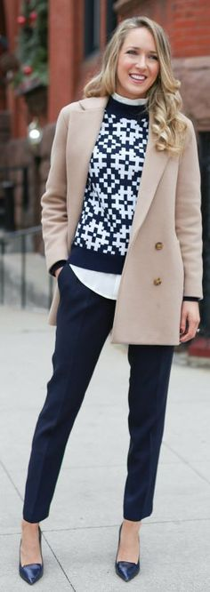 Navy And White Winter Printed Sweater by The Classy Cubicle