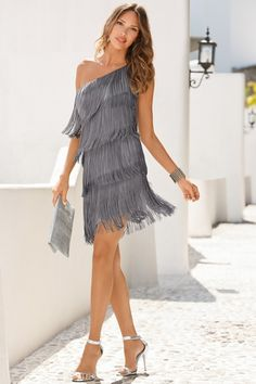 One-shoulder fringe dress from Boston Proper on Catalog Spree, my personal digital mall.