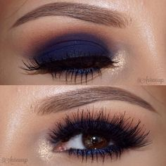 """Another close-up of this blue smokey eye!  Filled my brows in with Soft Brown & Blonde dipbrow by #anastasiabrows  All @anastasiabeverlyhills shadows-…"""