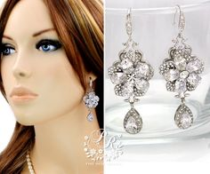 Wedding Earrings Teardrop Zirconia Earrings Rhinestone Sterling silver Ear hook Zirconia pendant Earrings  Jewelry Bridal Earrings Glow   Ordered these myself and LOVED them! She did a great job, they didn't make me breakout with my allergies and they arrived BEAUTIFULLY wrapped !!! PERFECT SELLER!!!
