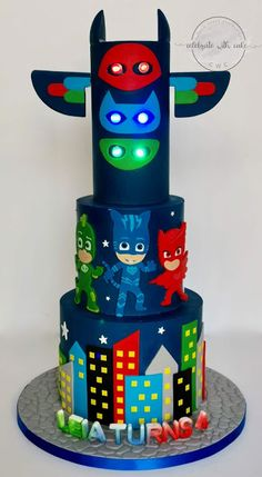 4th Birthday Parties, Baby Birthday, Birthday Cakes, Pj Masks Headquarters, Tire Cake, Bubble Cake, Icing Tips, Mask Party, Let Them Eat Cake