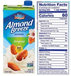 Almond Breeze Dairy Free Original Almond Milk Review Best Almond Milk Brand, Milk Brands, Almond Breeze, Vegan Milk, Trans Fat, Saturated Fat, Serving Size, Dairy Free, Nutrition