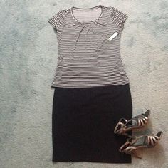 Worthington black & white stripes scoop neck top Worthington top with black and white stripes. Scoop neck and cap sleeves. Slight pleat detail at the neck. Soft, comfortable and super stretchy. Perfect for work or for play. Skirt and sandals not included. Thank you for looking. Worthington Tops