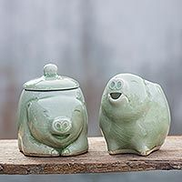Celadon ceramic sugar bowl and creamer, 'Piggy Cheer' (pair)