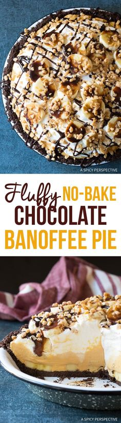 Fluffy No-Bake Chocolate Banoffee Pie Recipe - A kicked-up variation of the traditional English dessert with creamy toffee, fresh bananas, and chocolate coffee crust! via @spicyperspectiv