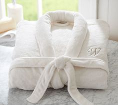 Luxe Cozy Robe | Pottery Barn - I want a fluffy white bath robe with my initials monogrammed on it