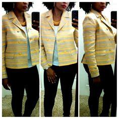 Selling this 💎NWOT Talbots Yellow & Gray Blazer on Poshmark! My username is: blissfulshopper. #shopmycloset #poshmark #fashion #shopping #style #forsale #Talbots #Jackets & Blazers