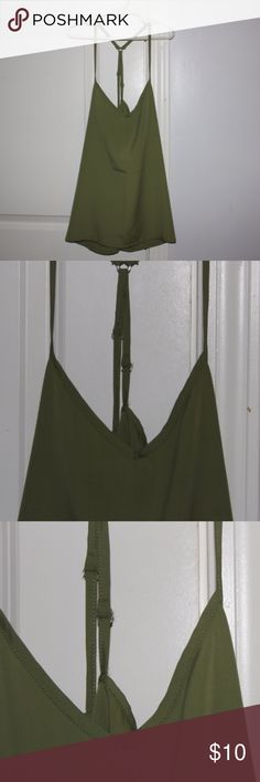 Olive green strappy top Olive green top that is loose fitting. Very comfortable and in perfect condition. This top has only been worn once. Hollister Tops Blouses