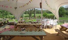 Marquee with picnic tables Yorkshire - Marston Moor Marquee