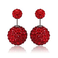 Glowing Red, Tribal Style Double Pearl Earrings; BeadyBoutique.com