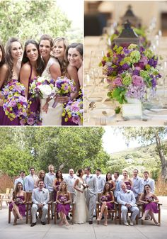 Bridal bouquets in blues, purples and yellows to coordinate with plum purple dresses.  Photos by: Carmel Valley Ranch + Nancy Liu Chin