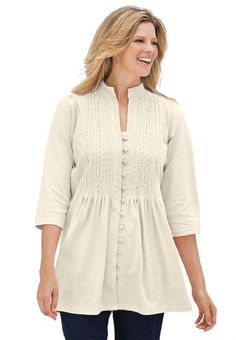 Plus Size Tunic Top In Knit Is Pleated, Pintucked, Embroidered $21.58