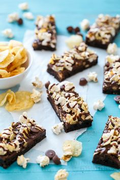 Loaded Junk Food Brownies with potato chips, kettle corn, and peanut butter cups. @loveandoliveoil