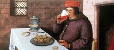 Meal with red wine (Heures de Jacques de Beaune, Tours 1510)