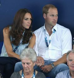 Will & Kate's rare PDA... - Will, Kate & Harry attended the 2014 Commonwealth Games in Glasgow. Kate was wearing her Zara blazer, navy jeans, and a blue/white pin striped sleeveless blouse, and her Stuart Weitzman Corkswoon wedges. - 7/28/2014