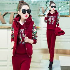 free shipping survetement femme 2016 new autumn winter thick womens tracksuit 3-piece sets hoodies printed fashion suits set