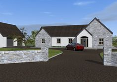 This dual aspect design incorporates the clients wishes for a split level dwelling that includes a functional courtyard while maintaining traditional form on the elevations facing the public roads. Bungalow Exterior, Bungalow Renovation, Bungalow House Design, Dream House Exterior, Dream House Plans, Bungalow Porch, House Extension Plans, Extension Ideas, House Designs Ireland