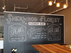 Loved spending a weekend at Sherwood Florist in downtown Dayton to hand-letter this chalkboard mural. (Visit them, they do beautiful work. And they now have workshops, too!)