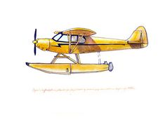 "From ""FlightsByNumber"" on Etsy.  Piper Club Floatplane/Seaplane vintage airplane watercolor print."