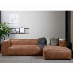 Eckgarnitur Bean Leder Cognac Couch Polster Sofa Ecksofa Longchair