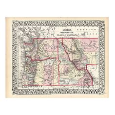 Pre-Owned 1870s Map of Oregon Washington & Idaho (690 HRK) ❤ liked on Polyvore featuring home, home decor, wall art, multi, map home decor, map wall art, steel wall art, unframed wall art and vintage print gallery