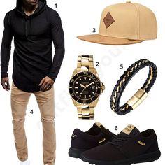 Beige-Schwarzes Herren-Outfit mit goldener Uhr (m0507) #herrenoutfit #männeroutfit #outfit2017 #outfit #style #fashion #menswear #mensfashion #inspiration #shirt #cloth #clothing #styling #sneaker #menstyle #inspiration