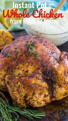 Instant Pot Whole Chicken is juicy, tender and incredibly easy to make. You can make this time saving recipe with fresh or frozen chicken. chicken dinner Instant Pot Whole Chicken Recipe - Fresh or Frozen [Video] - Sweet and Savory Meals Instant Pot Whole Chicken Recipe, Cooking Whole Chicken, Instant Pot Dinner Recipes, Young Chicken Recipe, Recipes Dinner, Dinner Ideas, Instant Pot Pressure Cooker, Pressure Cooker Recipes, Pressure Cooking