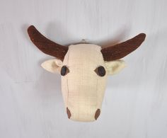 White cow Textile head trophy Faux taxidermy Fauxidermy White brown bull Wall decor Soft sculpture Kids room decor Vegan friendly OOAK - pinned by pin4etsy.com