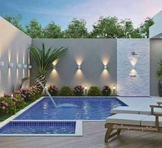50 Gorgeous Small Swimming Pool Ideas for Small Backyard Courtyard Pool, Backyard Pool Landscaping, Backyard Pool Designs, Backyard Garden Design, Small Backyard Landscaping, Backyard Ideas, Pools For Small Yards, Small Swimming Pools, Swimming Pools Backyard