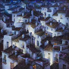"Luis Romero ""Under a Starry Sky"" Spanish Painters, Spanish Artists, Pintura Exterior, Pablo Picasso, Naive Art, Gustav Klimt, Andalucia, Wildlife Art, Little Houses"
