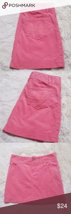 """Lilly Pulitzer Corduroy Mini Skirt Palm Beach Fit Lilly's classic cord mini skirt in Coral with 2"""" waistband and double belt loops, hits just a little over the knee. The front features 2 front sling pockets with grommets and 2 back pockets featuring the Lilly """"L"""". This skirt is 98% Cotton & 2% XLA Lastol for stretch. This skirt is used in excellent condition. Waist measures approximately 30"""" and length is approximately 15 1/4"""". Lilly Pulitzer Skirts"""