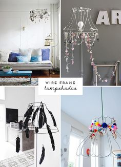 Wire frame lampshades | At Home in Love