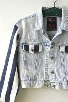 90s Grunge acid wash and striped denim jacket