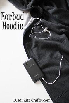 Earbud Hoodie - 30 Minute Crafts