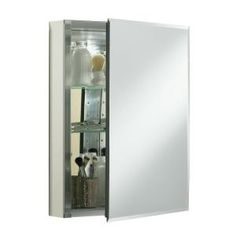 """Single door 20""""W x 26""""H x 5""""D aluminum cabinet with square mirrored door-K-CB-CLC2026FS at The Home Depot"""
